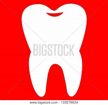 Vector drawing of a tooth on a red background