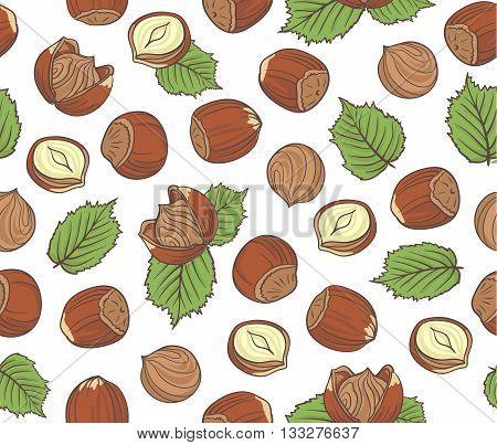 Seamless pattern with hand drawn hazelnuts on white background.