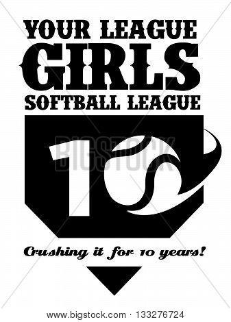 Black and white customizable girls softball vector logo