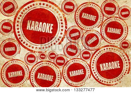 karaoke, red stamp on a grunge paper texture