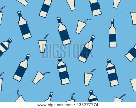 Seamless pattern with bottles on a blue background. Bottles with a stroke. Vector illustration.