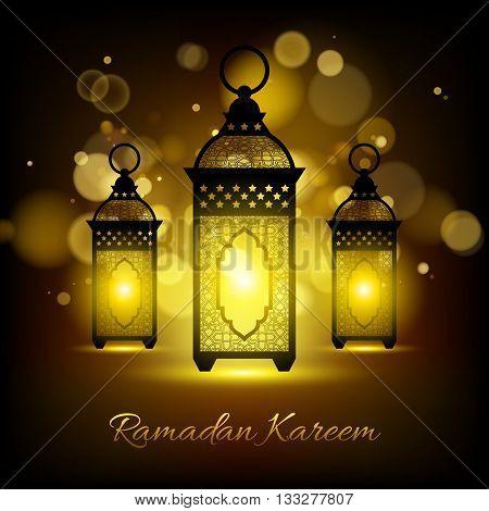 Ramadan kareem. Ramadan background design vector illustration. Ramadan greeting card poster flyer backdrop. Ramadan lanterns with glowing lights.