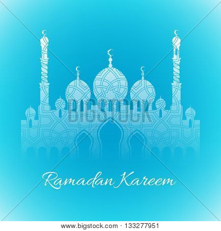Ramadan kareem. Ramadan background design vector illustration. Ramadan greeting card poster flyer backdrop. Beautiful light green background with mosque and arabesque pattern.