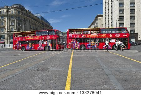 MOSCOW, RUSSIA - MAY 31, 2016: Two-story tour buses