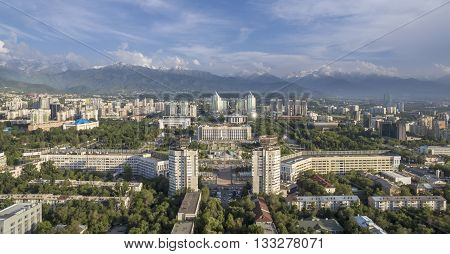 ALMATY KAZAKHSTAN - JUNE 7 2016: Aerial view of the building of city administration at the Republic Square in Almaty Kazakhstan.