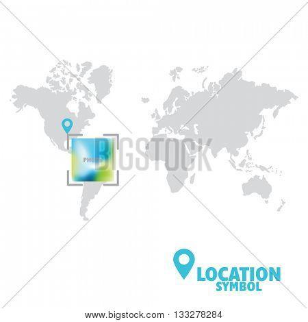Location symbol. Map pointer,  location icon, world map.