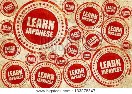 learn japanese, red stamp on a grunge paper texture