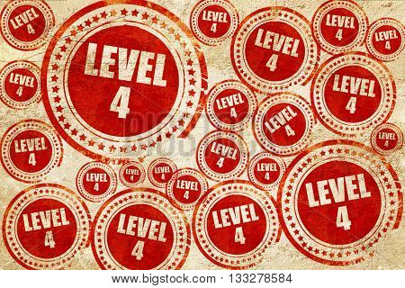 level 4, red stamp on a grunge paper texture