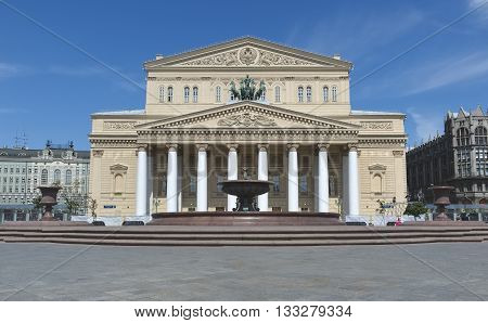 MOSCOW, RUSSIA - MAY 31, 2016: State Academic Bolshoi Theatre of Russia the main entrance pediment with quadriga with Apollo Peter Klodt