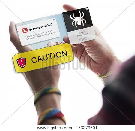 Caution Browsing Data Connection Digital Device Concept