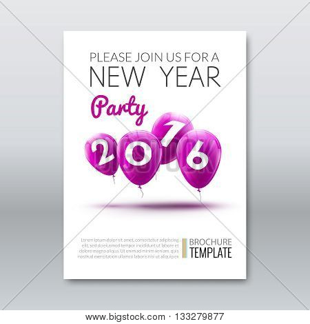 Template invitation new year holiday. Holiday card dedicated to the Christmas and New Year 2016. 3D balloons, Lilac colors, on a white background. Vector illustration.