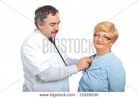 Mature Doktor Man untersuchen Patienten Frau