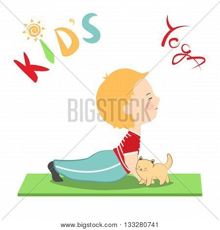 Vector illustration of boy and his cat in cartoon style. Kid's yoga fun colorful poster. Child practicing yoga doing yoga pose stretching. Cute little boy and his kitten.
