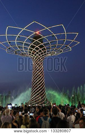MILAN, ITALY - JUNE 29 2015: Tree of Life show at Expo 2015 in Milan Universal Exhibition dedicated to food in June 2015 in Milan Italy