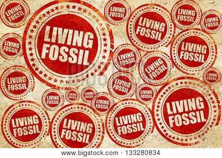 living fossil, red stamp on a grunge paper texture