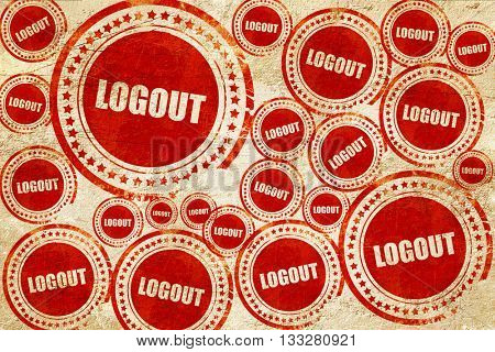 Logout, red stamp on a grunge paper texture