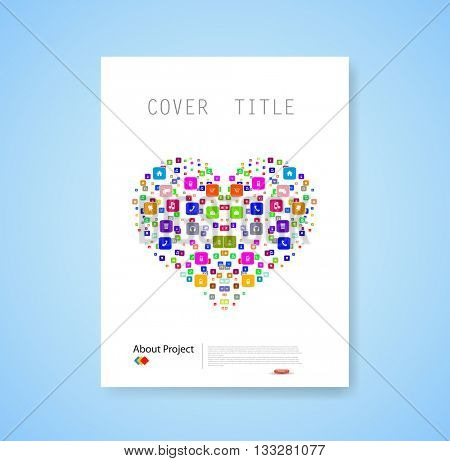 heart template design with social network icons background