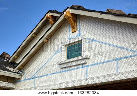 Home Building Industry Double Gable Roof Prep For Stucco