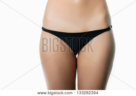 Close-up Photo Of Attractive Black Women's Panties On The White Background