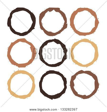 Set of Coffee stains on white. Coffee cup prints. Vector illustration