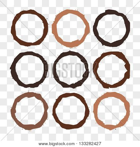 Set of Coffee stains on transparent. Coffee cup prints. Vector illustration