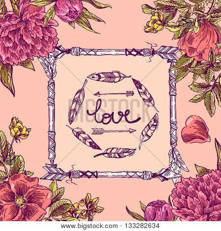 Beautiful hand drawn illustration floral banner. Flowers boho style. Floral boho frame.