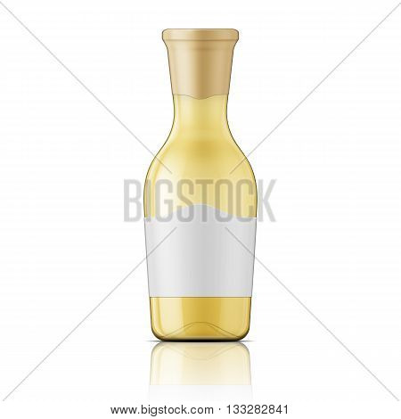 Transparent glass bottle with wide neck and label for wine, juice, oil. Package collection.