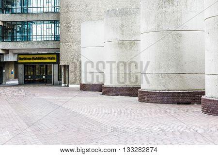 London, UK - June 3, 2016 - Barbican Exhibition Hall brutalist architecture building in the Barbican Complex London