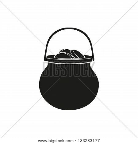 Pot full of coins black simple icon isolated on white background