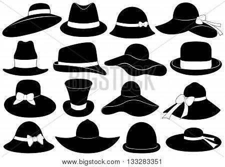 Black hats illustration isolated on white background