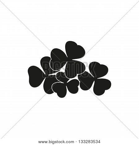 Simple black four shamrocks Icon Vector Object Image on a white background