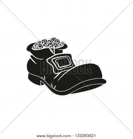 Leprechaun shoe with gold coins on a white background. St. Patrick's Day symbol