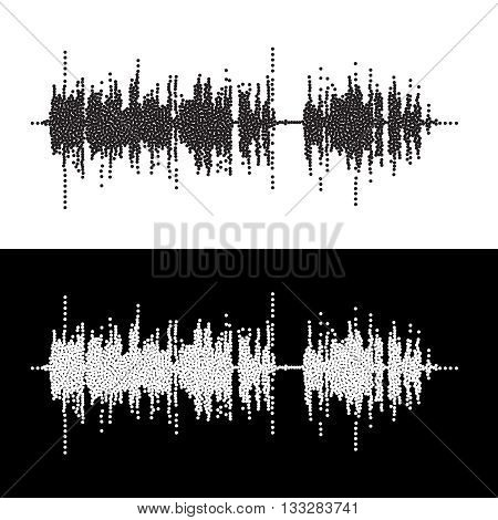 Halftone dot square vector elements.Vector sound waves. Music round waveform background. You can use in club, radio, pub, party, concerts, recitals or the audio technology advertising background.