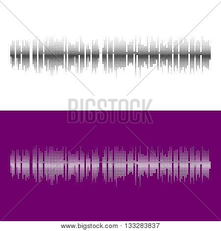 Halftone square vector elements.Vector sound waves. Music round waveform background. You can use in club, radio, pub, party, concerts, recitals or the audio technology advertising background.