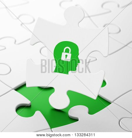 Information concept: Head With Padlock on White puzzle pieces background, 3D rendering