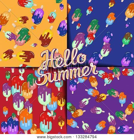 Colorful summer dessert. Ice-cream seamless pattern set. Bitten sweet food on wood stick with melted glaze flow. Vector illustration