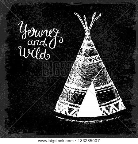 Vector illustration with wigwam american indians isolated on white background Tribal theme background with wigwam.