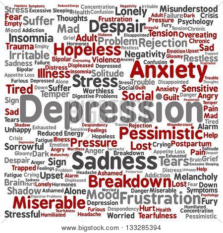 Concept conceptual depression or mental emotional disorder square word cloud isolated on background metaphor to anxiety, sadness, negative, sad, problem, despair, unhappy, frustration symptom