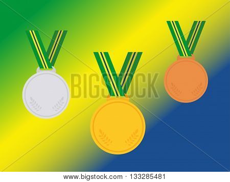Set Of Winner Medals With Brazil Ribbon Isolated On Flag