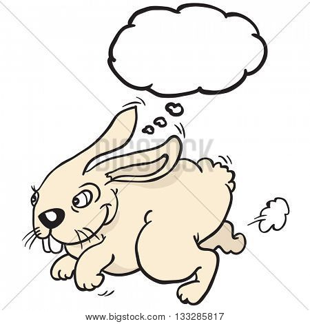 rabbit with thought bubble cartoon