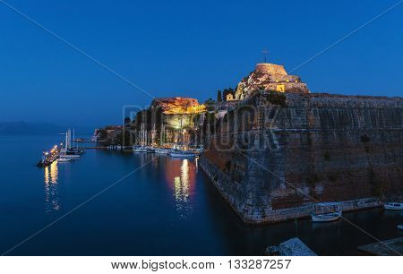 Evening View Of Illuminated  Old Fortress And Yachts, Corfu I