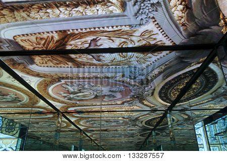 MILAN, ITALY - OCTOBER 12 2015: Mirrored effect inside Palazzo Italia at Expo Milano 2015 on October 12 2015