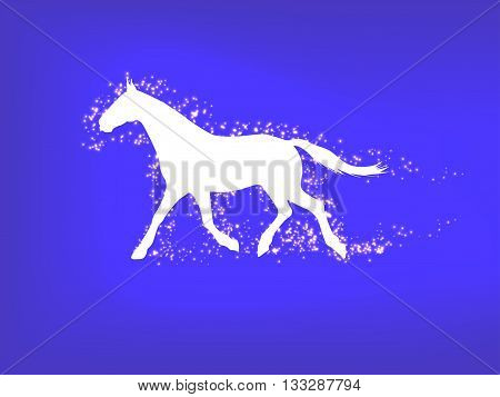 Vector illustration of a silhouette of a running horse on a blue background. Running horse in the magic dust.