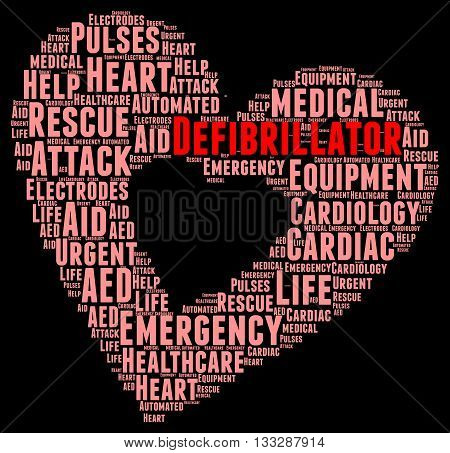 Defibrillator word cloud concept with a black background