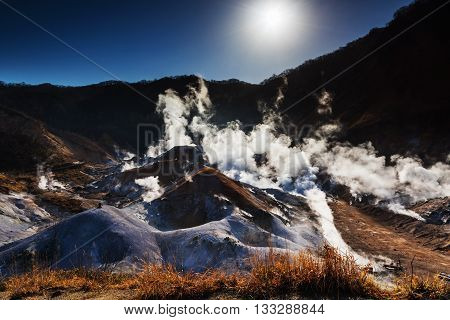 Jigokudani Or Hell Valley Against Sunrise, Noboribetsu