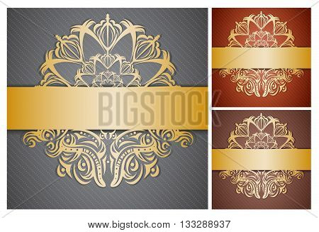 Set of backgrounds with golden ribbons. Illustration 10 version.