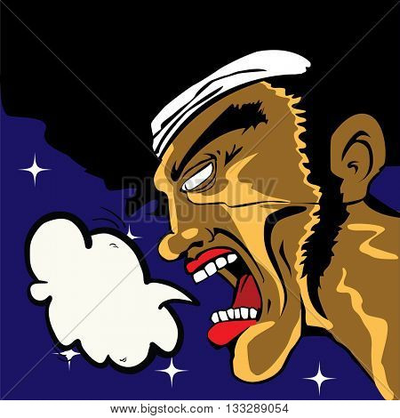 man with speech bubble screaming into the night