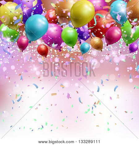 Background wth confetti and streamers