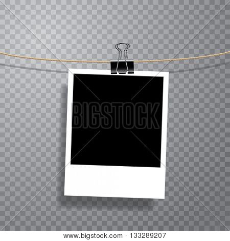 vector photo on cable with office metal clip, fully editable with transparent shadow in separate layer