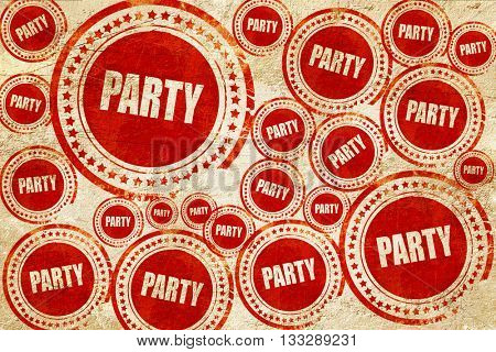 party, red stamp on a grunge paper texture